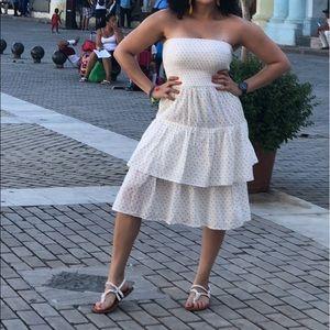 H & M strapless white polka dot dress